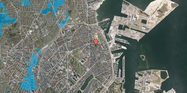 Oversvømmelsesrisiko fra vandløb på Vordingborggade 15, 2100 København Ø