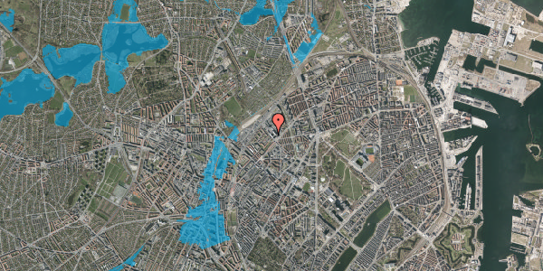 Oversvømmelsesrisiko fra vandløb på Vermundsgade 38, 2. , 2100 København Ø