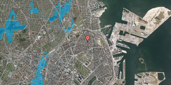 Oversvømmelsesrisiko fra vandløb på Masnedøgade 30, 4. th, 2100 København Ø