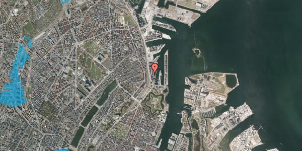 Oversvømmelsesrisiko fra vandløb på Amerika Plads 7, st. , 2100 København Ø