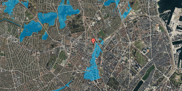 Oversvømmelsesrisiko fra vandløb på Bygmestervej 21C, 5. , 2400 København NV