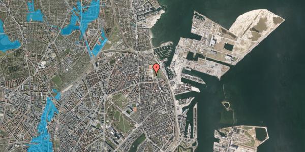 Oversvømmelsesrisiko fra vandløb på Nyborggade 46, 2100 København Ø