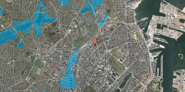 Oversvømmelsesrisiko fra vandløb på Emblasgade 135, 2100 København Ø