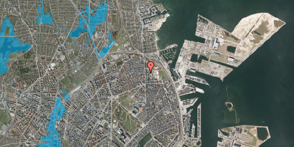 Oversvømmelsesrisiko fra vandløb på Johan Svendsens Vej 10, 2100 København Ø