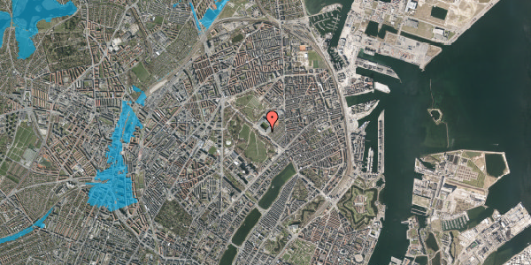Oversvømmelsesrisiko fra vandløb på Øster Allé 44, 2100 København Ø