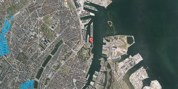 Oversvømmelsesrisiko fra vandløb på Indiakaj 14B, 1. th, 2100 København Ø