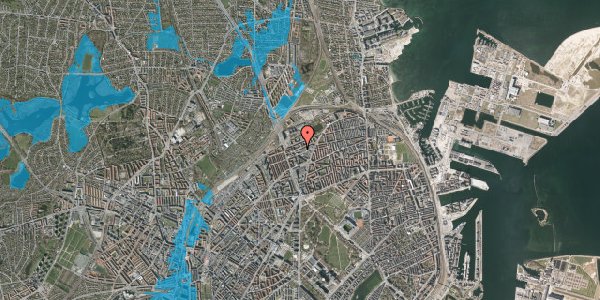 Oversvømmelsesrisiko fra vandløb på Venøgade 8, 1. , 2100 København Ø