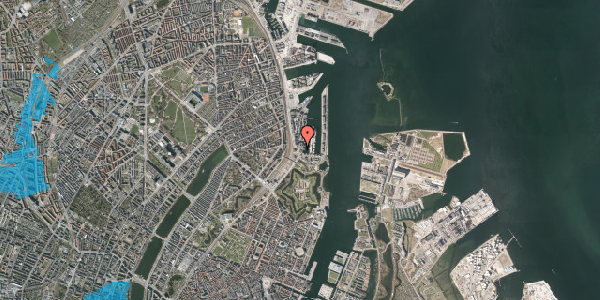 Oversvømmelsesrisiko fra vandløb på Dampfærgevej 4A, 2100 København Ø