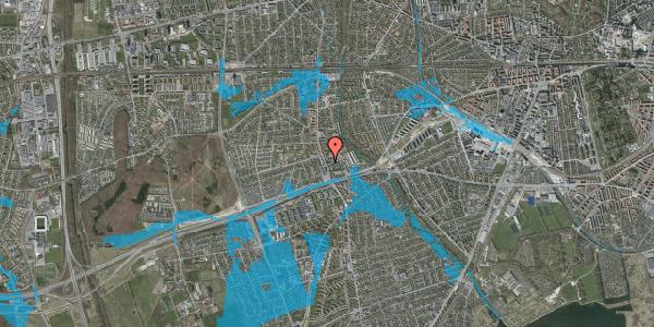 Oversvømmelsesrisiko fra vandløb på Baunebakkevej 12, 2. th, 2650 Hvidovre