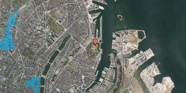 Oversvømmelsesrisiko fra vandløb på Kastellet 72, 2100 København Ø