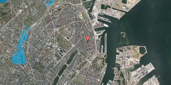 Oversvømmelsesrisiko fra vandløb på Rosenvængets Allé 44B, 2100 København Ø