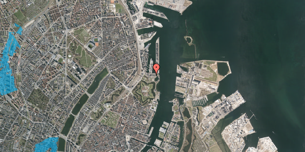 Oversvømmelsesrisiko fra vandløb på Indiakaj 14B, 2. th, 2100 København Ø