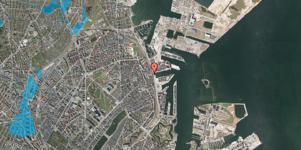 Oversvømmelsesrisiko fra vandløb på Østbanegade 121, 2100 København Ø