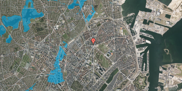 Oversvømmelsesrisiko fra vandløb på Aldersrogade 6G, 2. , 2100 København Ø