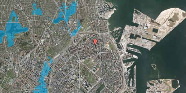 Oversvømmelsesrisiko fra vandløb på Masnedøgade 32, 1. th, 2100 København Ø