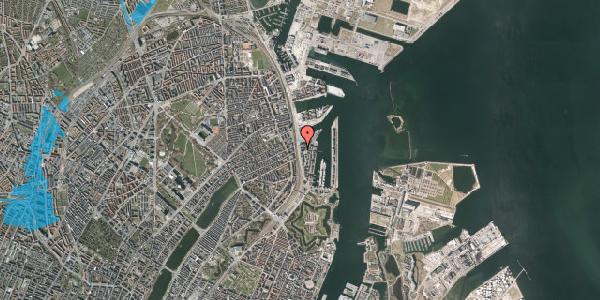 Oversvømmelsesrisiko fra vandløb på Kalkbrænderihavnsgade 4C, 5. th, 2100 København Ø