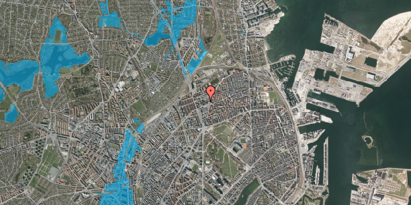 Oversvømmelsesrisiko fra vandløb på Æbeløgade 3, 6. , 2100 København Ø