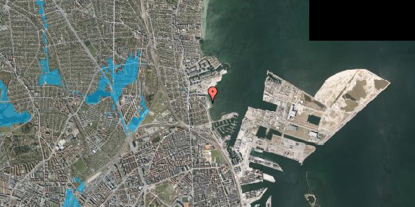 Oversvømmelsesrisiko fra vandløb på Strandpromenaden 36, 2100 København Ø