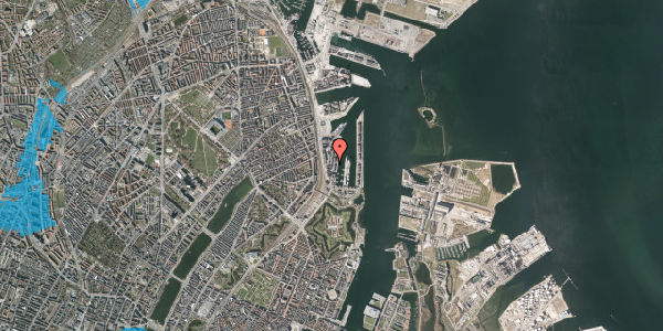 Oversvømmelsesrisiko fra vandløb på Amerika Plads 1, 4. , 2100 København Ø