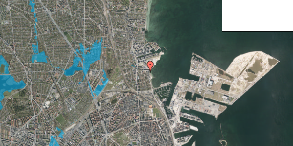 Oversvømmelsesrisiko fra vandløb på Strandpromenaden 69, 2. , 2100 København Ø