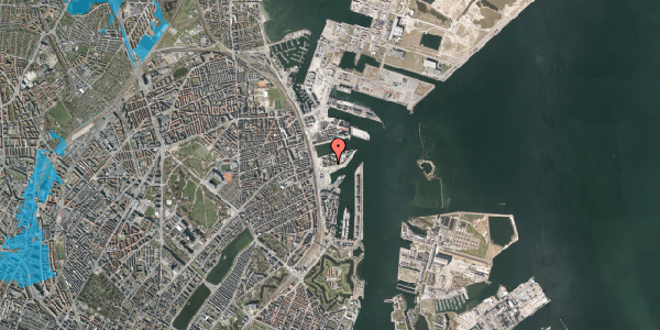 Oversvømmelsesrisiko fra vandløb på Marmorvej 17C, 1. tv, 2100 København Ø