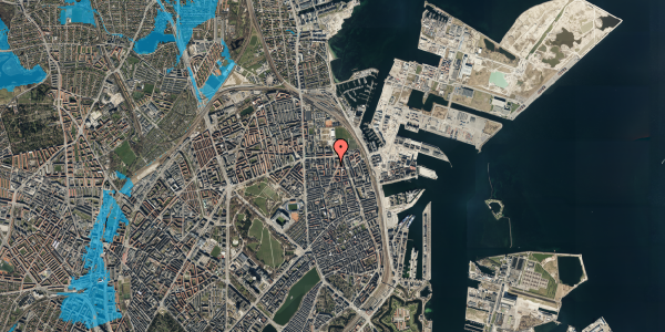 Oversvømmelsesrisiko fra vandløb på Svendborggade 1, 5. 516, 2100 København Ø