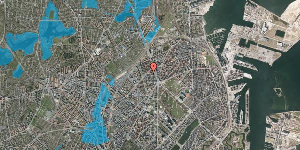 Oversvømmelsesrisiko fra vandløb på Ragnagade 9, 1. 1, 2100 København Ø