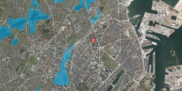 Oversvømmelsesrisiko fra vandløb på Lersø Parkallé 50, 2100 København Ø