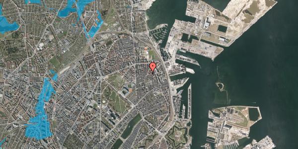 Oversvømmelsesrisiko fra vandløb på Århus Plads 1, 2100 København Ø