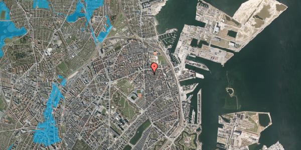 Oversvømmelsesrisiko fra vandløb på Vordingborggade 18, 4. , 2100 København Ø