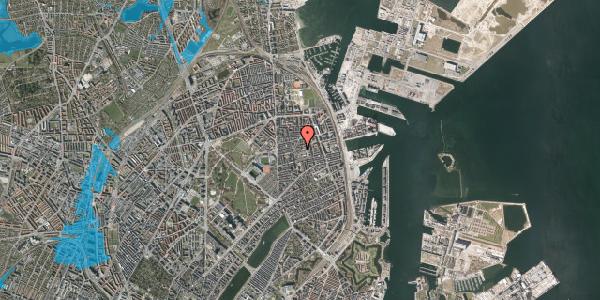 Oversvømmelsesrisiko fra vandløb på Viborggade 48, 1. th, 2100 København Ø