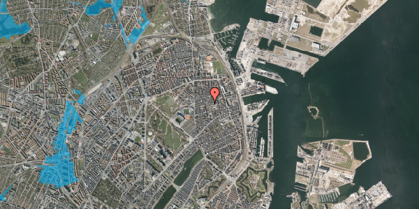 Oversvømmelsesrisiko fra vandløb på Viborggade 50, 3. , 2100 København Ø