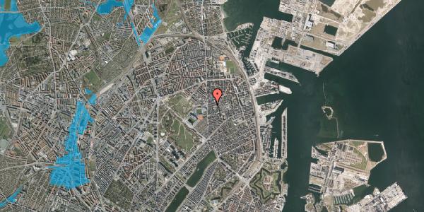 Oversvømmelsesrisiko fra vandløb på Viborggade 14A, 2100 København Ø
