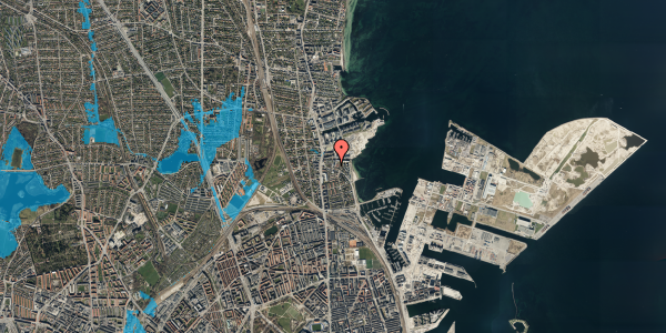 Oversvømmelsesrisiko fra vandløb på Strandøre 5C, 2100 København Ø