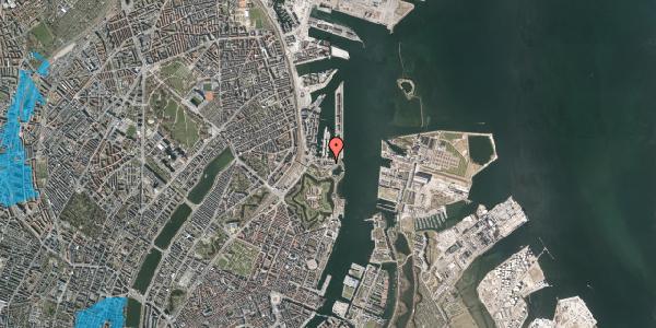 Oversvømmelsesrisiko fra vandløb på Indiakaj 14A, 1. th, 2100 København Ø