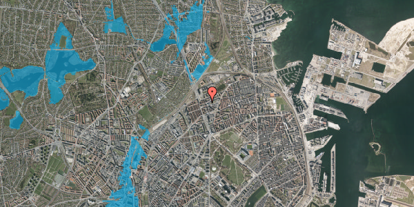 Oversvømmelsesrisiko fra vandløb på Venøgade 4, 4. 4, 2100 København Ø