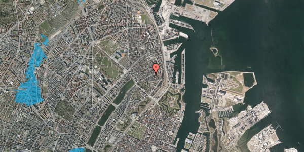 Oversvømmelsesrisiko fra vandløb på Classensgade 50A, 2100 København Ø