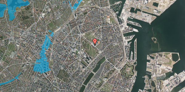 Oversvømmelsesrisiko fra vandløb på Øster Allé 33, 1. , 2100 København Ø