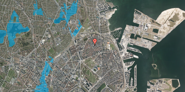Oversvømmelsesrisiko fra vandløb på Nygårdsvej 34, 1. 2, 2100 København Ø