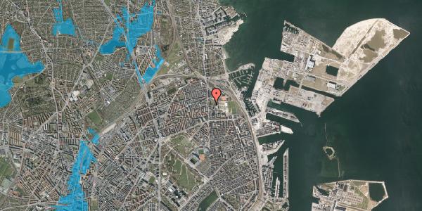 Oversvømmelsesrisiko fra vandløb på Johan Svendsens Vej 12, 2100 København Ø