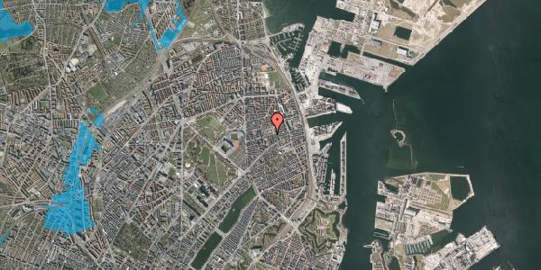 Oversvømmelsesrisiko fra vandløb på Gammel Kalkbrænderi Vej 11B, 2100 København Ø