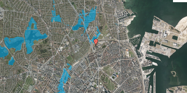 Oversvømmelsesrisiko fra vandløb på Lyngbyvej 98A, 2100 København Ø