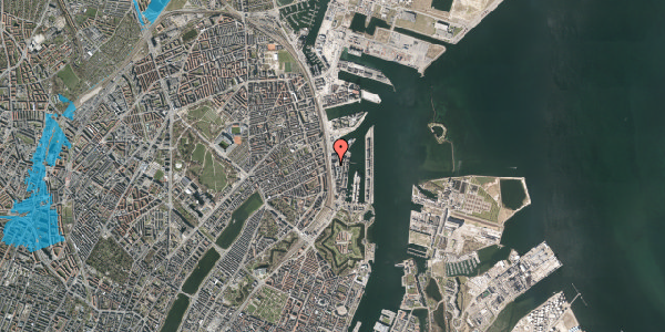 Oversvømmelsesrisiko fra vandløb på Amerika Plads 19, 4. , 2100 København Ø