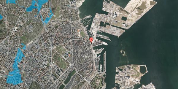 Oversvømmelsesrisiko fra vandløb på Østbanegade 135, 2100 København Ø