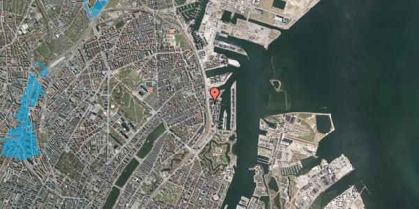 Oversvømmelsesrisiko fra vandløb på Kalkbrænderihavnsgade 4B, 4. tv, 2100 København Ø