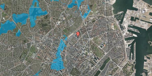 Oversvømmelsesrisiko fra vandløb på Vermundsgade 38K, 2. tv, 2100 København Ø