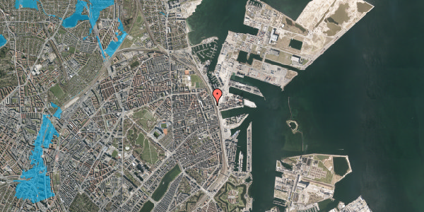 Oversvømmelsesrisiko fra vandløb på Østbanegade 135, 1. , 2100 København Ø