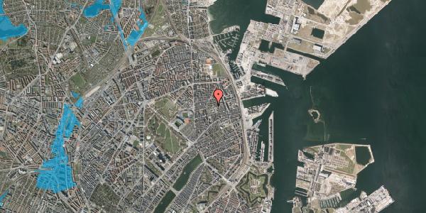 Oversvømmelsesrisiko fra vandløb på Viborggade 70E, 2. , 2100 København Ø