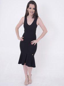 vestido preto em crepe de malha