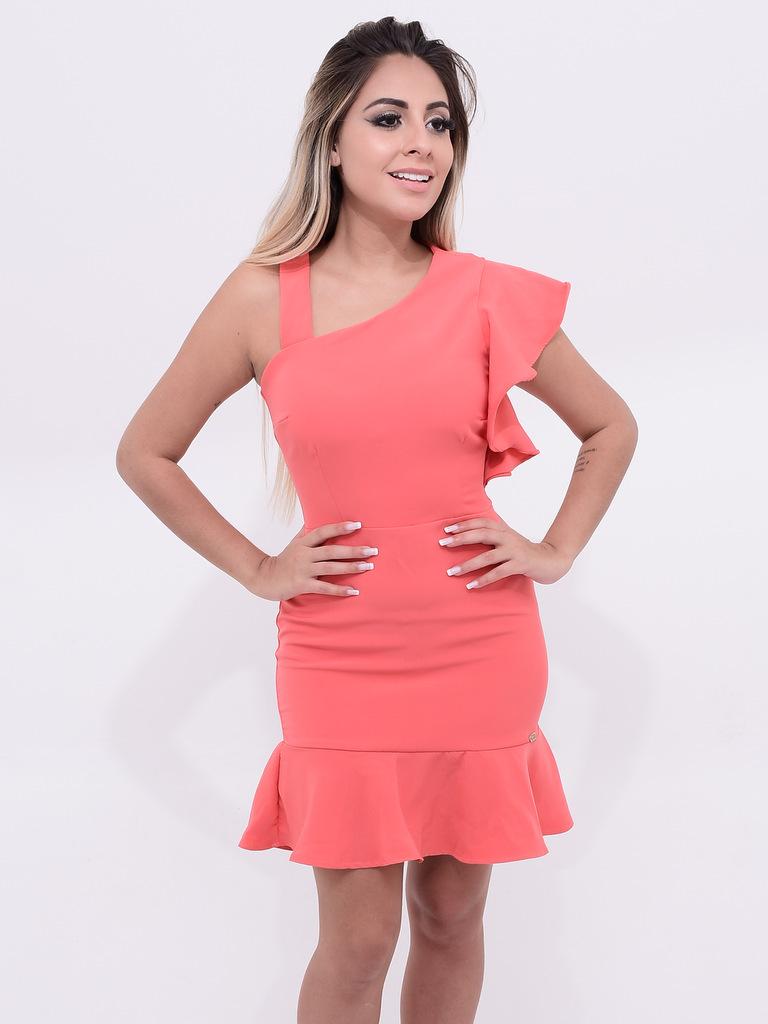 vestido cor coral